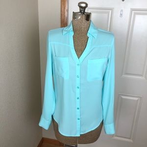 Express Portifino Teal Blue Top Blouse